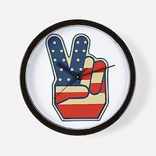 USA PEACE SIGN Wall Clock