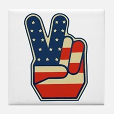 USA PEACE SIGN Tile Coaster