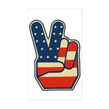 USA PEACE SIGN Rectangle Decal
