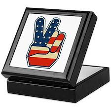 USA PEACE SIGN Keepsake Box