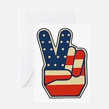 USA PEACE SIGN Greeting Card