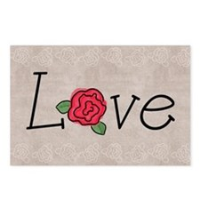 Love note with roses Postcards (Package of 8)