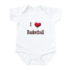 I Love (Heart) Basketball Infant Bodysuit