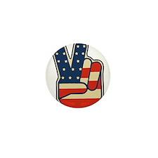 USA PEACE SIGN Mini Button