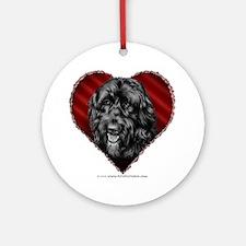 Black Labradoodle Valentine Ornament (Round)