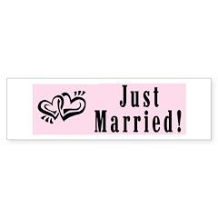Linked Hearts Pink Just Married Bumper Bumper Sticker