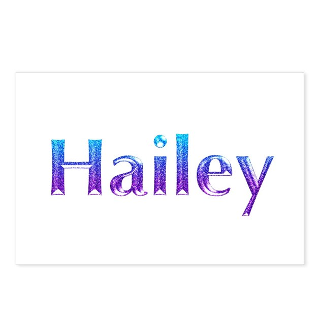 Glitter Name Hailey Postcards Package Of 8 By Snatchit