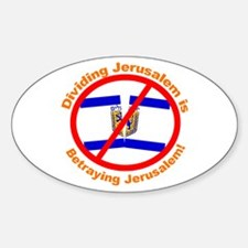 Stop The Division of Jerusalem Oval Decal