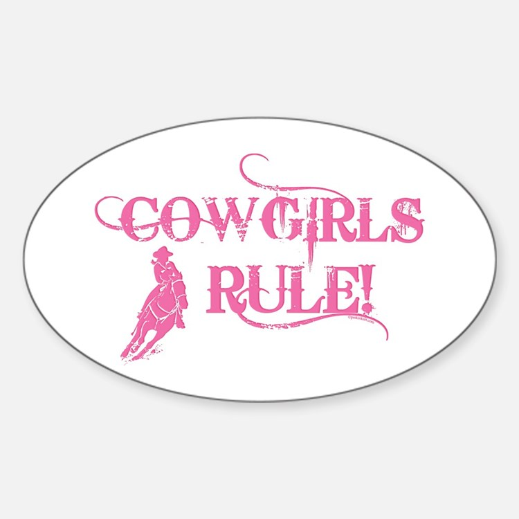 Cowgirls Rule Oval Decal