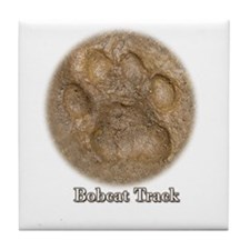 Real Bobcat Pawprint Tile Coaster