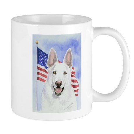 Patriotic White German Shepherd Mug
