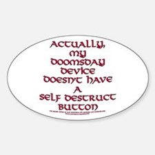 Funny Self Destruct Button Joke Oval Decal