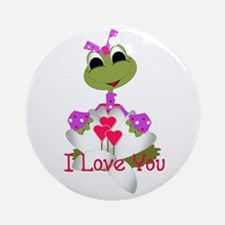 I Love You - Cute Frog Ornament (Round)