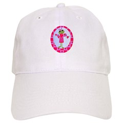 Little Girl Frog with Hearts Baseball Cap