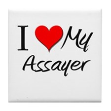 I Heart My Assayer Tile Coaster