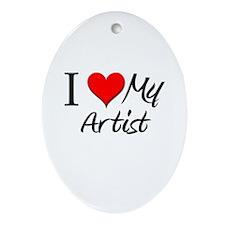 I Heart My Artist Oval Ornament
