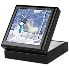 Snowman & Goat Christmas Keepsake Box