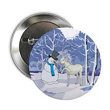 "Snowman & Goat Christmas 2.25"" Button (100 pack)"