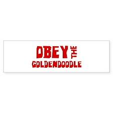 Obey the Goldendoodle Bumper Car Sticker