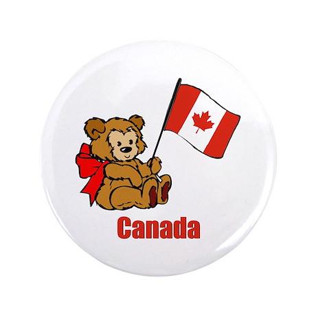 "Canada Teddy Bear 3.5"" Button (100 pack)"