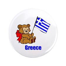 "Greece Teddy Bear 3.5"" Button (100 pack)"