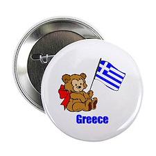 "Greece Teddy Bear 2.25"" Button (10 pack)"