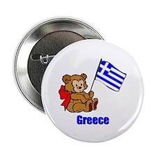 "Greece Teddy Bear 2.25"" Button (100 pack)"