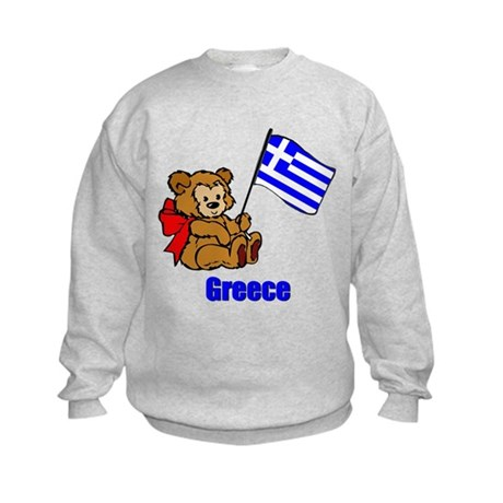 Greece Teddy Bear Kids Sweatshirt