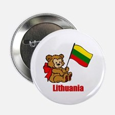 "Lithuania Teddy Bear 2.25"" Button (10 pack)"