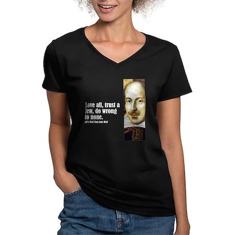 """Shakes """"Love All"""" Women's V-Neck Dark T-Shirt"""