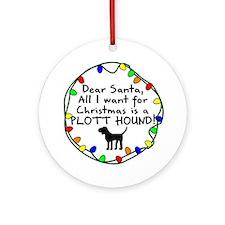 Dear Santa Plott Hound Christmas Ornament