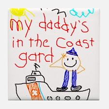 """Coast Guard Dad"" Series Tile Coaster"