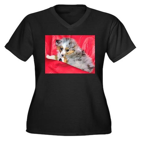 Mini Aussie Women's Plus Size V-Neck Dark T-Shirt