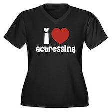Actressing Women's Plus Size V-Neck Dark T-Shirt