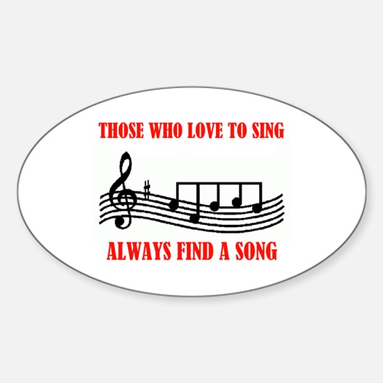 LOVE TO SING Oval Decal