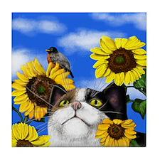 Calico Cat Sunflowers Tile Coaster