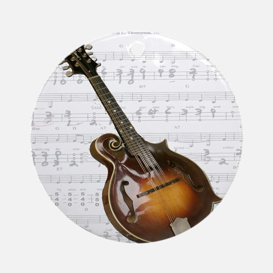 Mandolin and Sweet Music Ornament (Round)