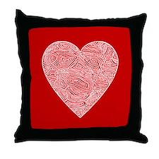 Red Scribbleprint Heart Throw Pillow