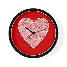 Red Scribbleprint Heart Wall Clock