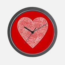 Red Scribbleprint Heart Wall Clock