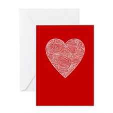 Red Scribbleprint Heart Greeting Card