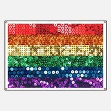 sequin pride flag Banner