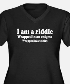 I Am a Riddle Women's Plus Size V-Neck Dark T-Shir