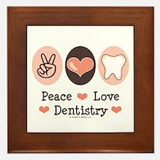 Peace Love Dentistry Dentist Framed Tile