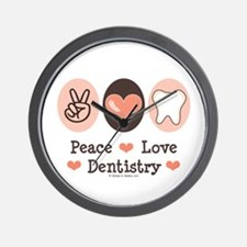 Peace Love Dentistry Dentist Wall Clock