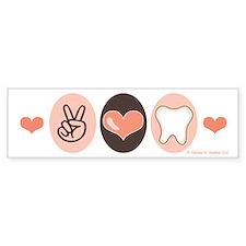 Peace Love Dentistry Dentist Bumper Car Sticker