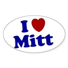 I LOVE MITT T-SHIRT MITT ROMN Oval Decal