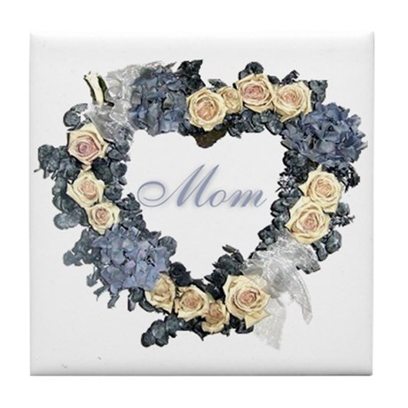 Mom Violet Wreath Tile Coaster