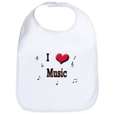 I Love (Heart) Music Bib