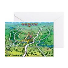 Cartoon map of texas Greeting Card